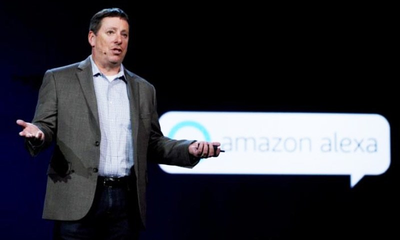 Steve Rabuchin, Amazon president of Amazon Alexa speaks during the Huawei keynote address at CES in Las Vegas — Reuters