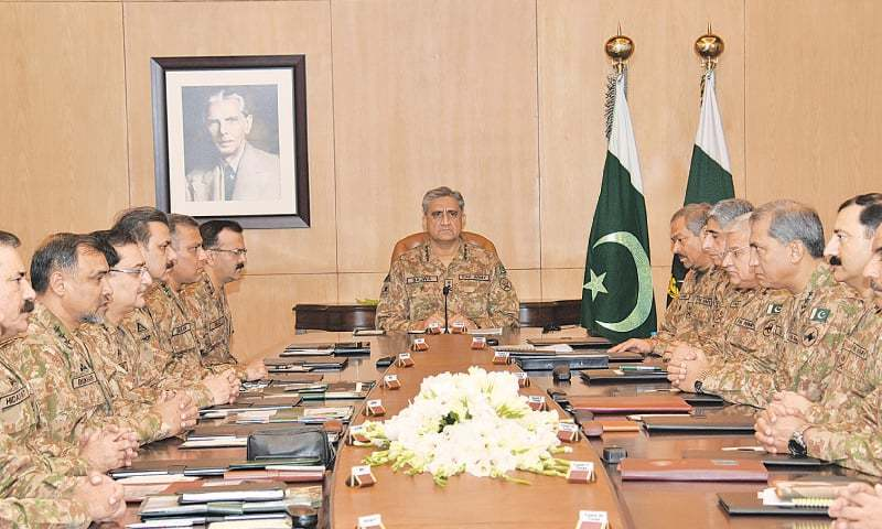 RAWALPINDI: Army Chief Gen Qamar Bajwa presiding over a meeting of corps commanders at the General Headquarters on Tuesday.