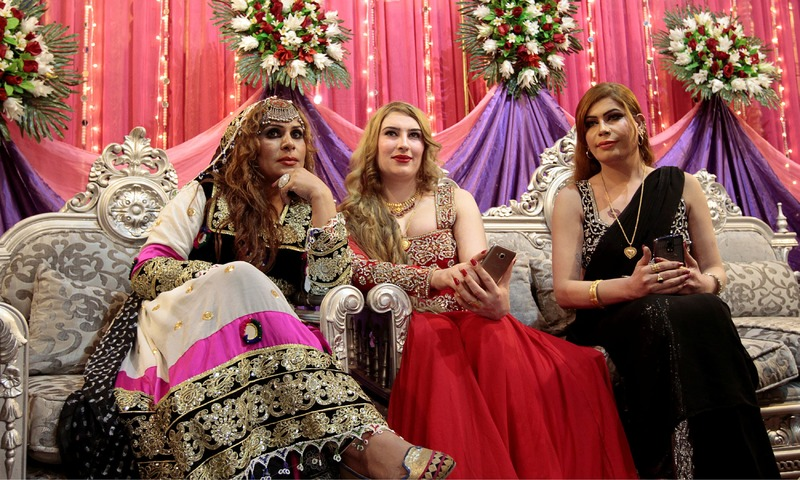 Members of the transgender community attend Shakeela's party in Peshawar. —Reuters