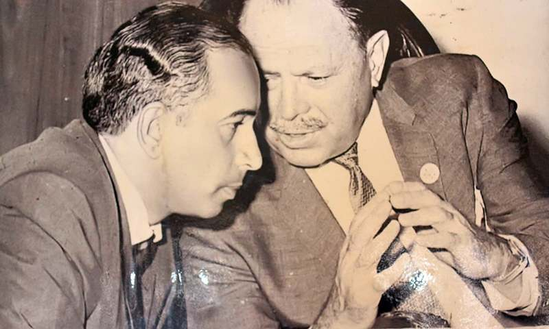 Zulfikar Ali Bhutto (l) and General-turned politician Ayub Khan (r).— File