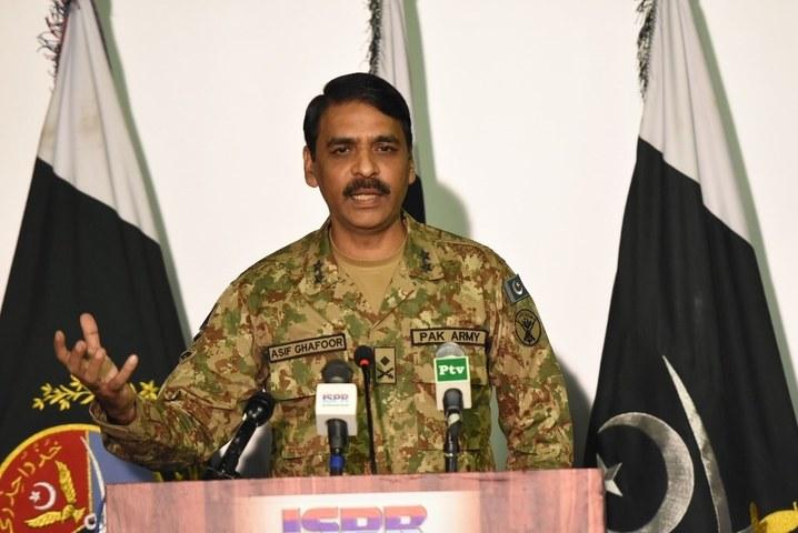 DG ISPR Maj Gen Asif Ghafoor addresses a press conference. ─ DawnNews