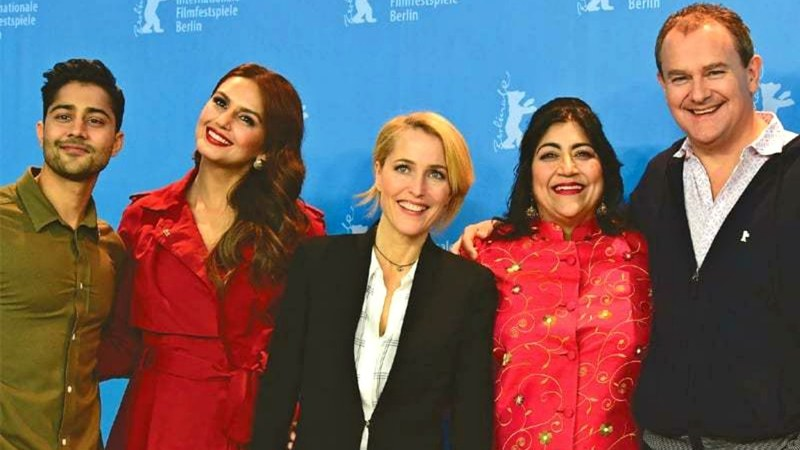 From left to right: Manish Dayal, Huma Qureshi, Gillian Anderson, Gurinder Chadha and Hugh Bonneville in Berlin on Sunday.—AFP