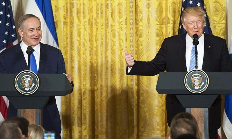 US President Donald Trump\ and Israeli Prime Minister Benjamin Netanyahu hold a joint press conference. -AFP