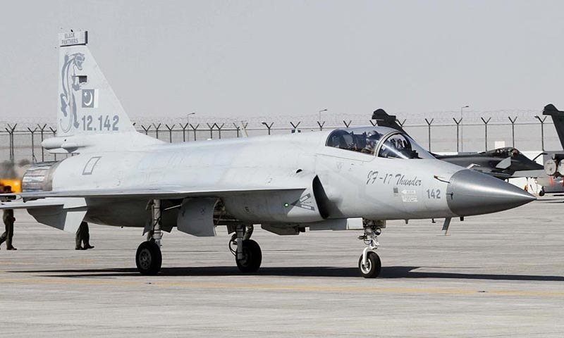 JF-17 Thunder aircraft taxiing out at Al Makhtoum Airport to practice aerobatics at Dubai Air Show-2013.— Online/File