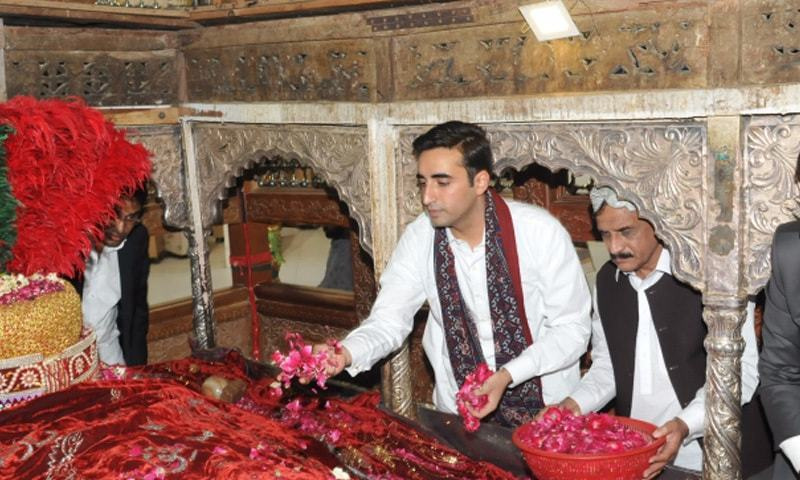 PPP Chairman Bilawal Bhutto Zardari pictured at Lal Shahbaz Qalandar's shrine at Sehwan in 2014. Photo: PPP Media Cell