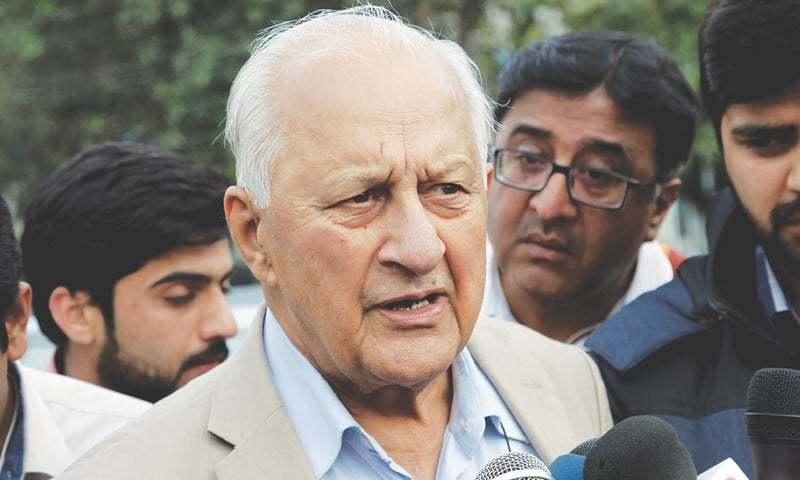LAHORE: Pakistan Cricket Board chairman Shaharyar Khan talks to reporters here on Thursday.—AP