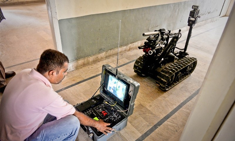 ONE of the bomb-disposal robots already in the Sindh police's use.—White Star