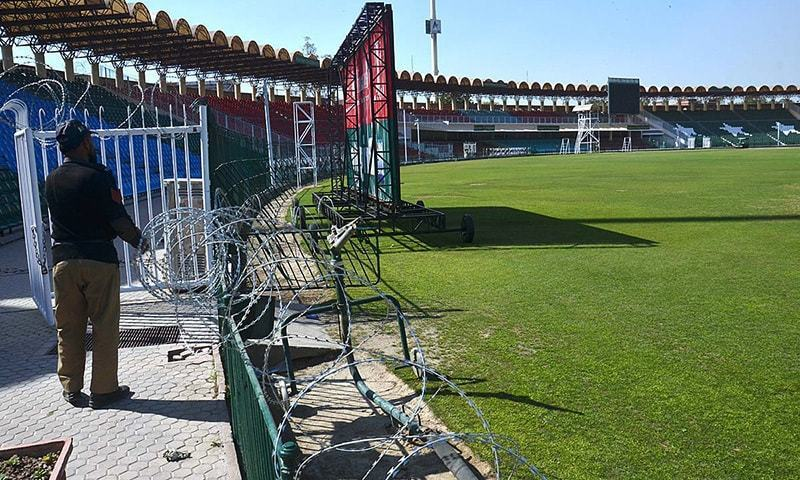 LAHORE: Security preparation and renovation under way at the Gaddafi Stadium for the PSL final match to be played on March 5.—APP