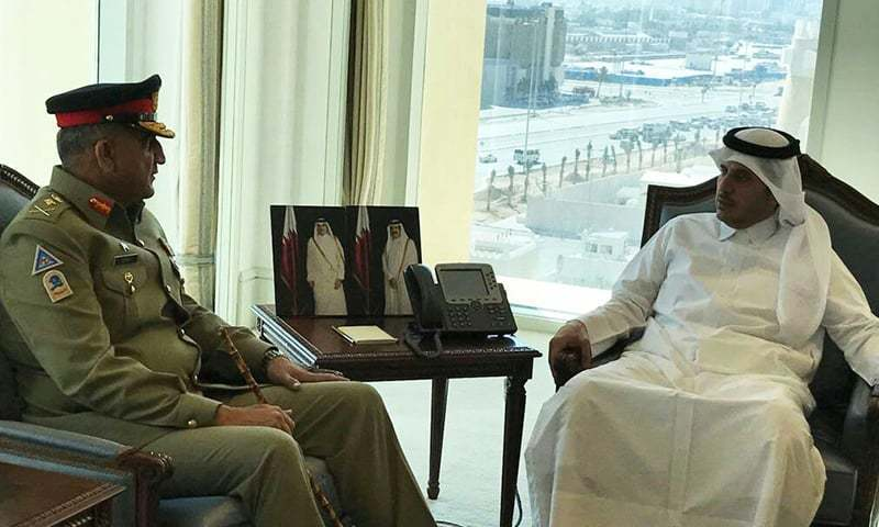 Chief of Army Staff Qamar Javed Bajwa with Prime Minister Sheikh Abdullah bin Nasser bin Khalifa Al Thani of Qatar. -ISPR
