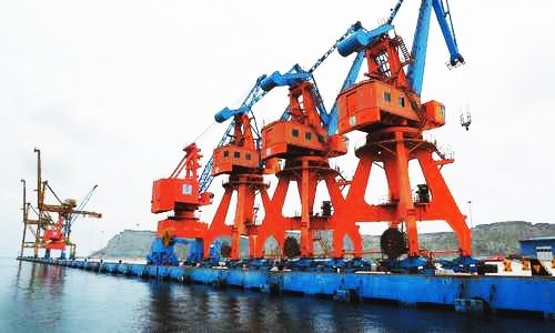 A VIEW of container cranes a the Gwadar port on Tuesday.—Dawn