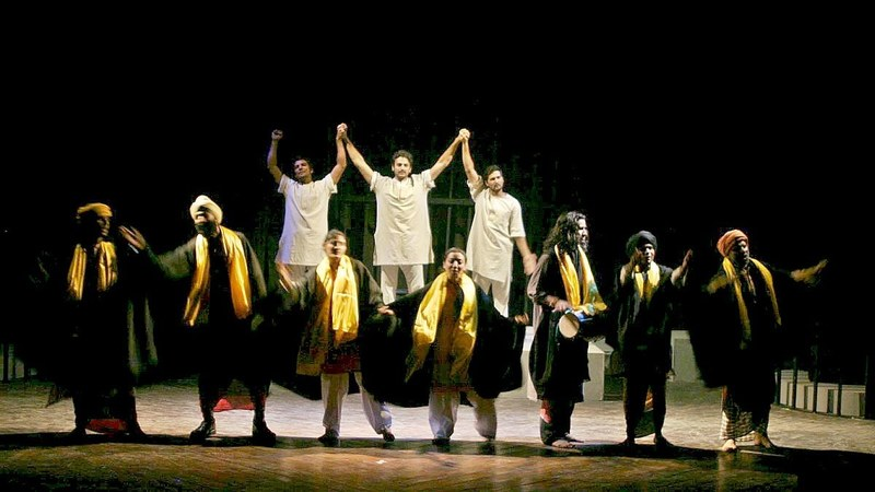 The Ajoka Theatre troupe performing a scene from Mera Rang De Basanti Chola — Photo courtesy Ajoka Theatre's Facebook page