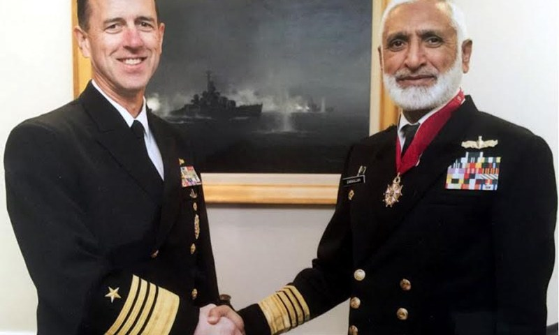 Chief of the Naval Staff Admiral Muhammad Zakaullah with  Chief of Naval Operations Admiral John Richardson — Pakistan Navy media