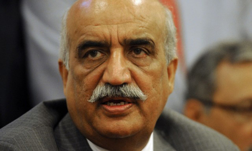 Khurshid Shah urges federal govt to address reservations of Sindh, KP over census.—AFP/File
