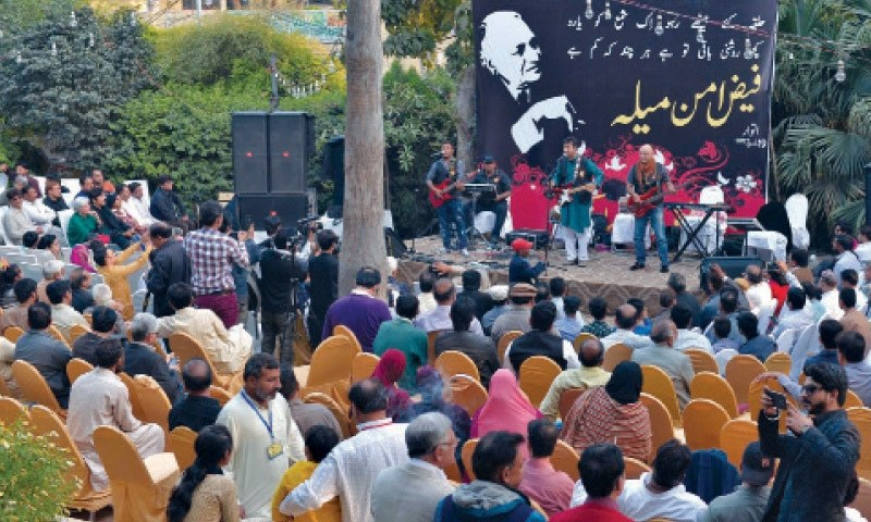 Laal Band performs at Faiz Aman Mela organised at the Lahore Press Club. -- White Star