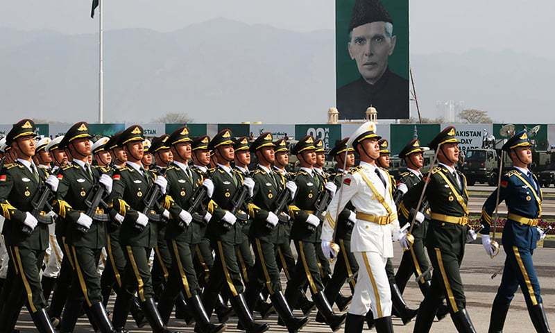 People's Liberation Army Honour Guards rehearsing for Pakistan Day parade. -Wang Qi/For China Daily