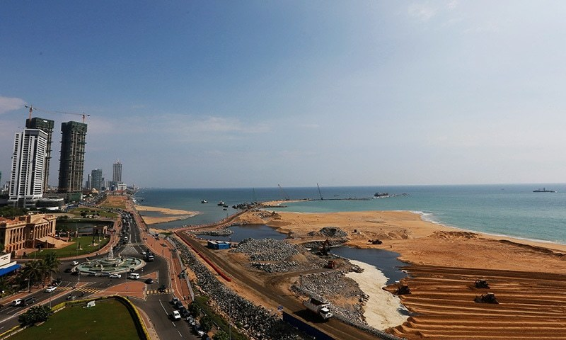 "A general view of ""Colombo Port City"" construction site in Colombo, Sri Lanka March 30.— Reuters"