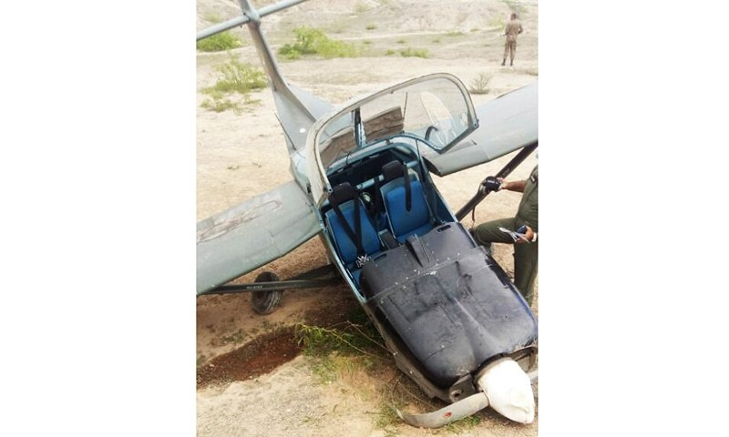 The pilot of the Mushshak trainer escaped the crash unharmed. ─ DawnNews