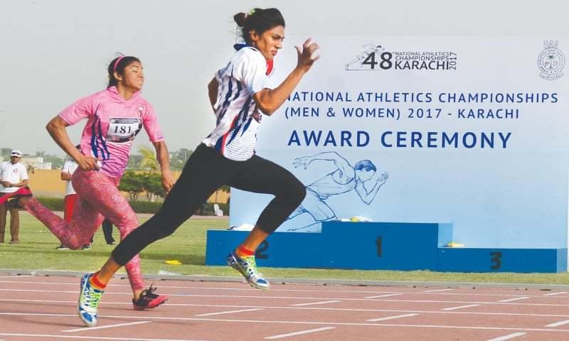 KARACHI: Sprinter Najma Perveen on her way to winning the 100-metre short  sprint