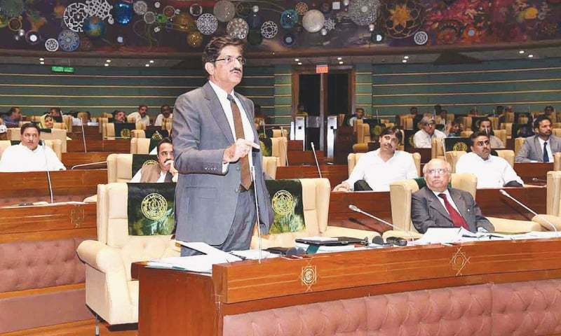 Sindh Chief Minister Syed Murad Ali Shah speaks on the issue of missing persons during the Sindh Assembly session on Wednesday. ─ APP
