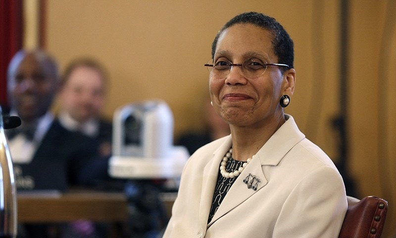 In this April 30, 2013 file photo, Justice Sheila Abdus-Salaam looks on as members of the state Senate Judiciary Committee vote unanimously to advance her nomination to fill a vacancy on the Court of Appeals at the Capitol in Albany, NY. ─ AP