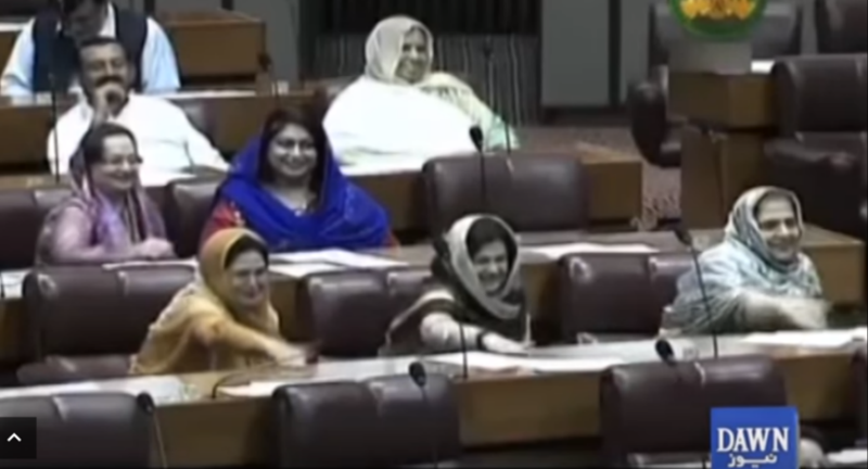 In a new video of the proceedings several women present can be seen enjoying the snub.
