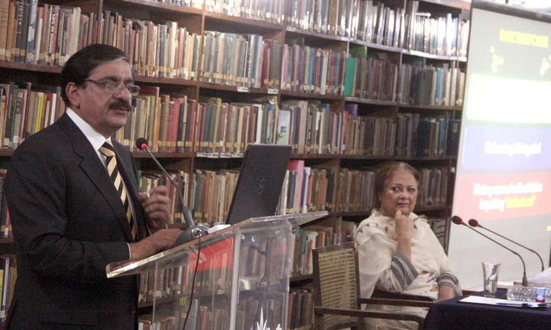 Nasir Khan Janjua addressing during his visit to Institute of International Affairs. —Online