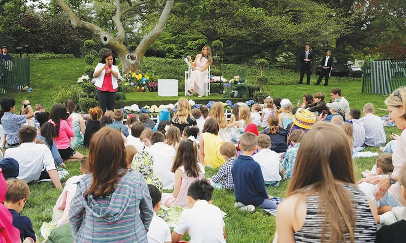 Trumps welcome 21000 to their first Easter Egg Roll at White House