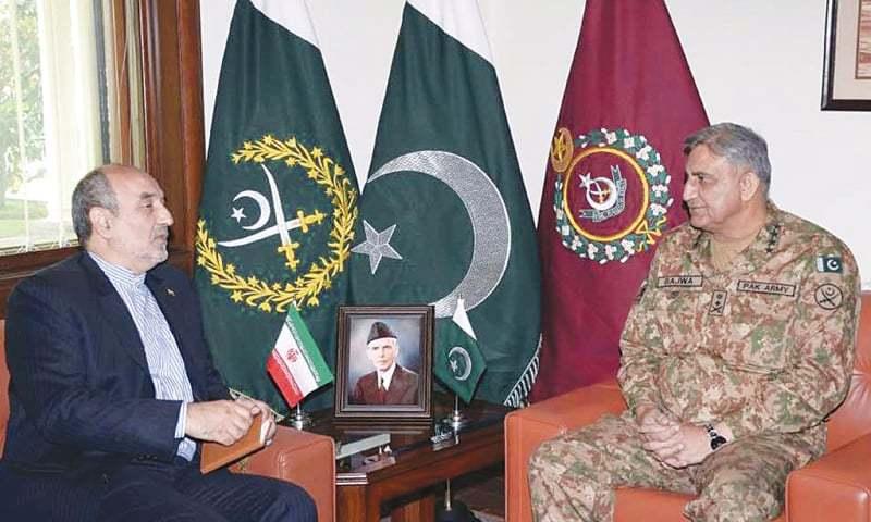 Iranian Ambassador Mehdi Honardoost called on Chief of the Army Staff Gen Qamar Javed Bajwa on Wednesday.— Online