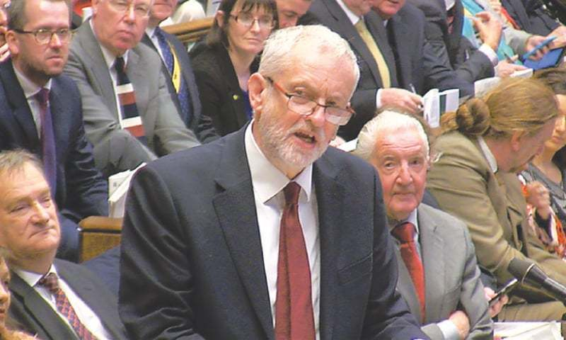 London: Labour Party leader Jeremy Corbyn addressing the House of Commons on Wednesday. In a sign of the key campaign issues ahead following the shock announcement of early elections, Prime Minister Theresa May traded barbs with Corbyn, whose party is deeply divided and languishing up to 20 points behind Conservatives. ─ Reauters