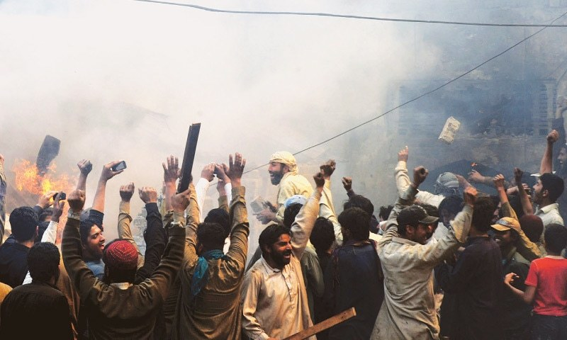 CLOCKWISE FROM THE TOP: A mob in Lahore sets dozens of Chirstian homes on fire in the Badaami Bagh area due to an alleged incident of blasphemy in 2013; young anti blasphemy protesters in Islamabad in 2012; another mob in Karachi trying to tip a bus over after it hit some schoolboys back in 2004 | WhiteStar file photos