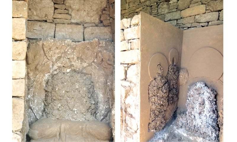 Bagian dari situs Buddhis Stupa Bhamala di Khyber Pakhtunkhwa, Pakistan.