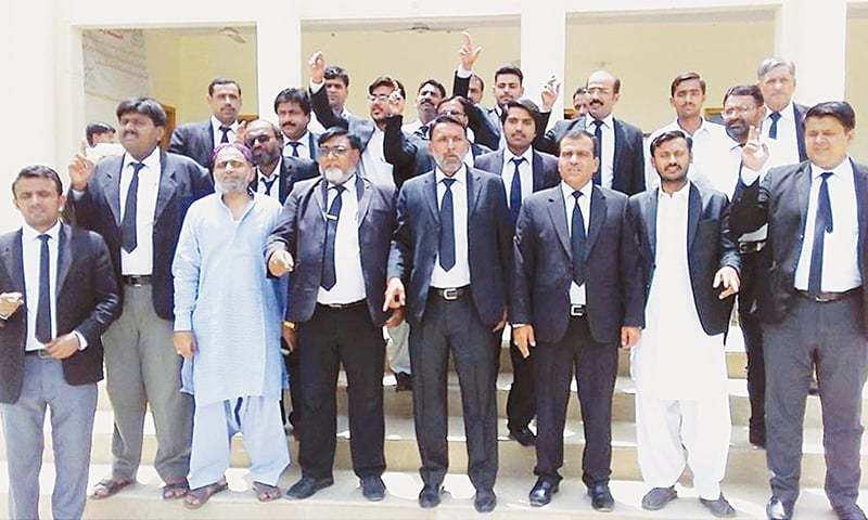Lawyers in Sukkur hold a protest demonstration on Firday to mark the 10th anniversary of the May 12 carnage. ─ Online