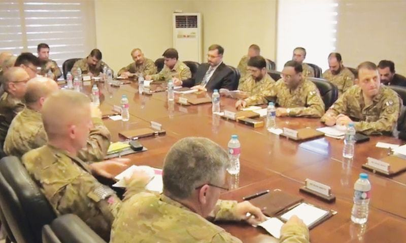 OPERATIONS chiefs of the Pakistani and Afghan militaries meet at the General Headquarters in Rawalpindi.