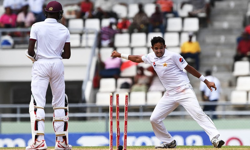 Mohammad Abbas of Pakistan celebrates after bowling out West Indies batsman Alzarri Joseph.-AFP