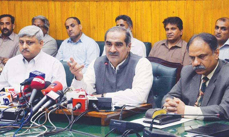 RAILWAYS Minister Khawaja Saad Rafique addressing the press conference on Thursday.—PPI