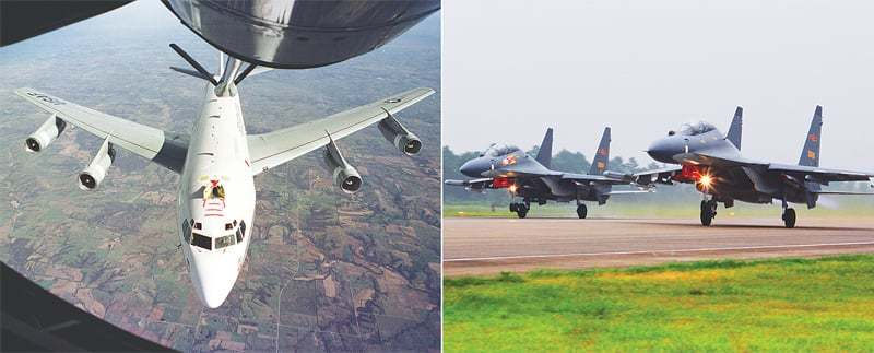 This combination of photos shows the US Air Force's Constant Phoenix aircraft during flight (left) and two Chinese SU-30 fighter jets taking off.—AP