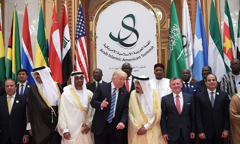 US President Donald Trump with Arab and Islamic countries' leaders during Arab-Islamic-American Summit in Riyadh. ─ AFP/File