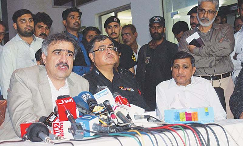 SINDH Home Minister Sohail Anwar Siyal speaks to the media at CPO.—PPI