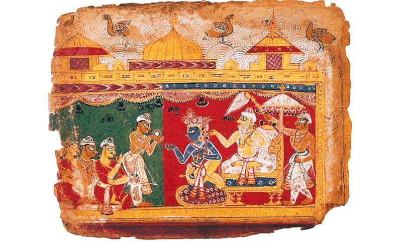 An illustration from a Bhagvad Purana manuscript shows Krishna being given the  legendary Syamantaka gem. Many devout Hindus believe the Kohinoor is the  mythological gem | Photos from the book