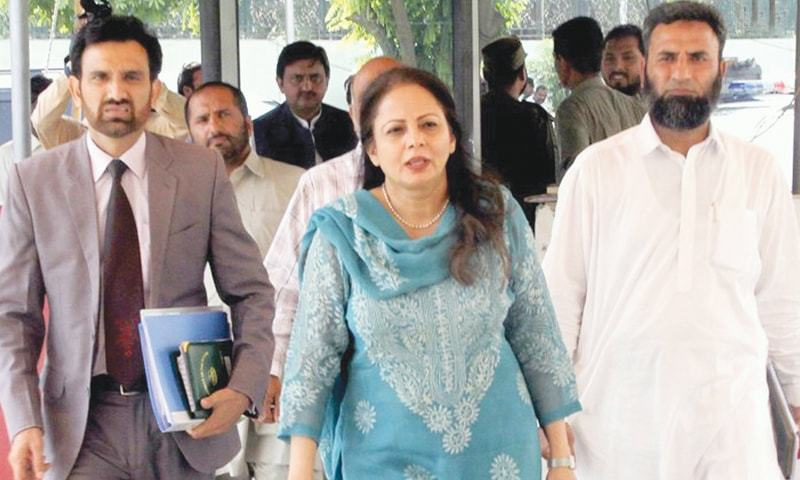 Provincial Finance Minister Ayesha Ghaus Pasha arrives at the Punjab Assembly building for the Punjab Budget Session 2017-18 on June 2 in Lahore.—INP
