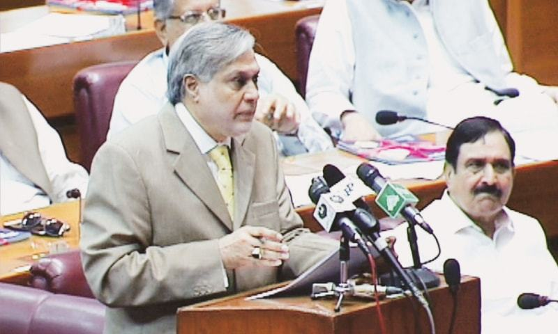 FINANCE Minister Senator Ishaq Dar giving the concluding remarks of the budget session in the National Assembly on Wednesday.