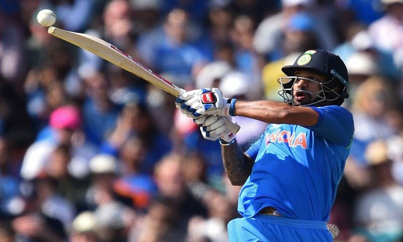 Shikhar Dhawan hits a shot in the ICC Champions Trophy semi-final against Bangladesh — ICC
