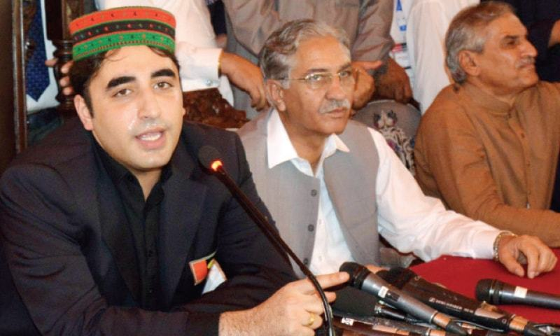Bilawal Bhutto Zardari addresses party workers in Peshawar on Friday. — White Star