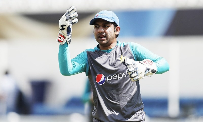 Pakistan's captain Sarfraz Ahmed during a training session at the Oval cricket ground in London.─AP