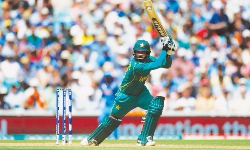 PAKISTAN batsman Mohammad Hafeez hits out during his brilliant knock.—Reuters