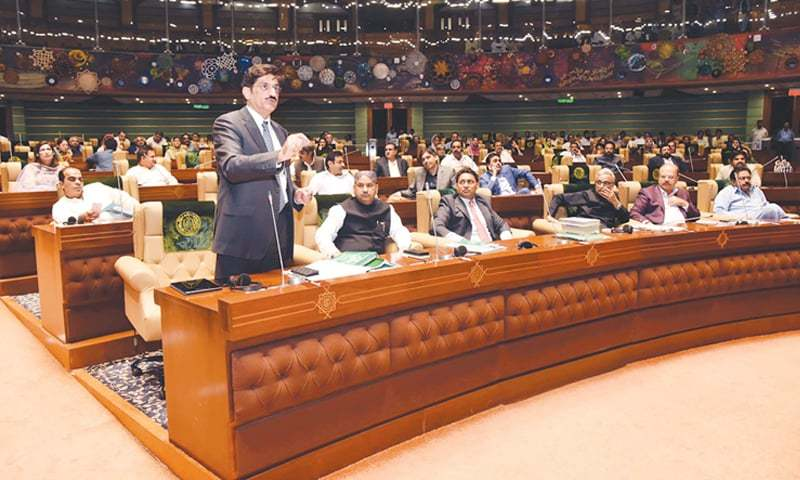 SINDH Chief Minister Syed Murad Ali Shah addresses the provincial assembly session on Monday.—PPI
