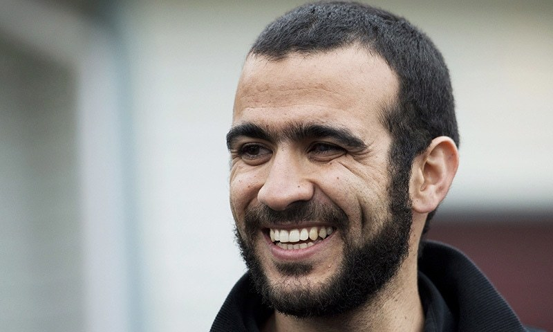 In this May 7, 2015 file photo, Omar Khadr speaks to the media outside his lawyer Dennis Edney's home in Edmonton, Alberta.— AP/File