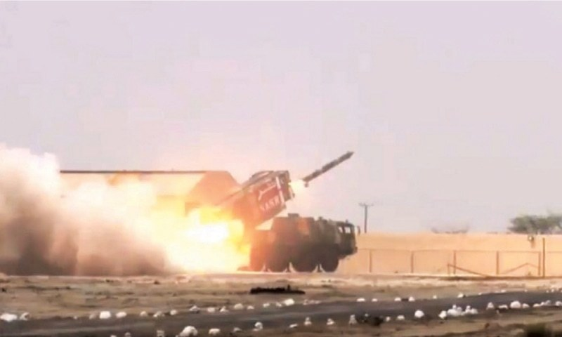 A SCREEN grab from an ISPR video of the Nasr missile's test launch.