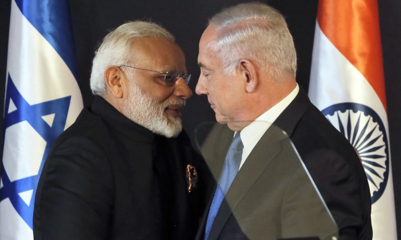Narendra Modi shakes hands with Israeli Prime Minister Benjamin Netanyahu during their meeting at the King David hotel in Jerusalem. —AP