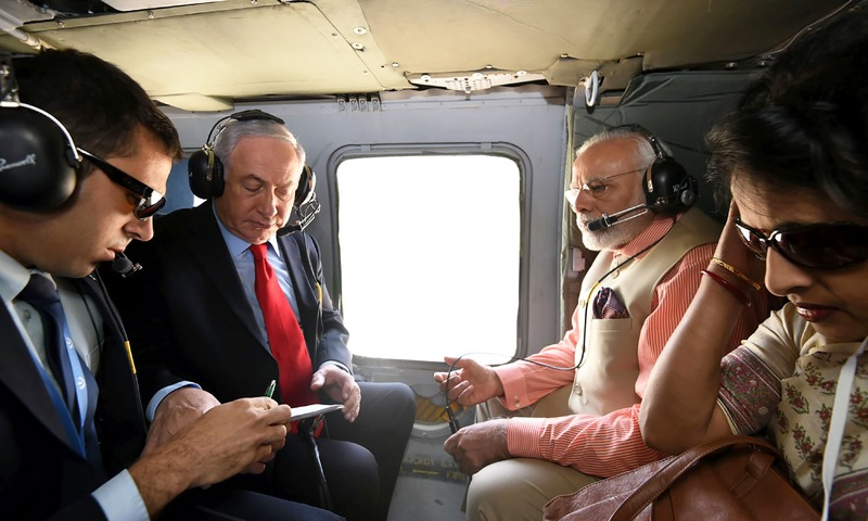 Modi and Netanyahu en route to Haifa to pay homage to Indian soldiers who fought in the Battle of Haifa in the final months of World War I. —AFP